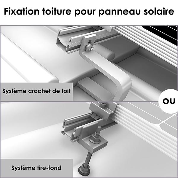 Fixations de toiture pour panneau solaire : système crochet de toit ou tire-fond