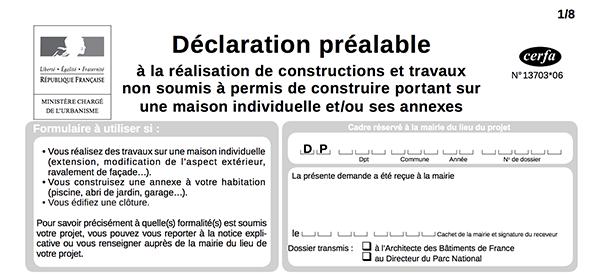 Extrait du formulaire Cerfa n°13703*06 dans le cadre de démarches administratives pour le photovoltaïque