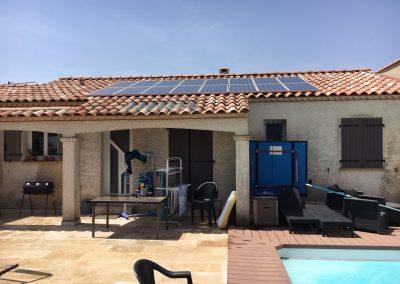 Reprise d'installation photovoltaïque suite à fuite réalisée à Garons (30128), par Libow en juin 2019. Image Libow 2019©