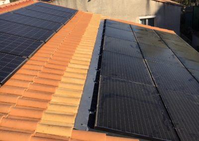 Reprise intégrale d'une installation de panneaux photovoltaïques suite à fuite réalisée à Montpellier, par Libow en août 2019. Image Libow 2019©