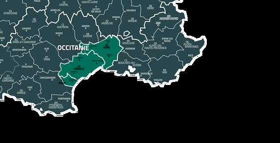 Zone d'intervention ; Hérault Aude Gard